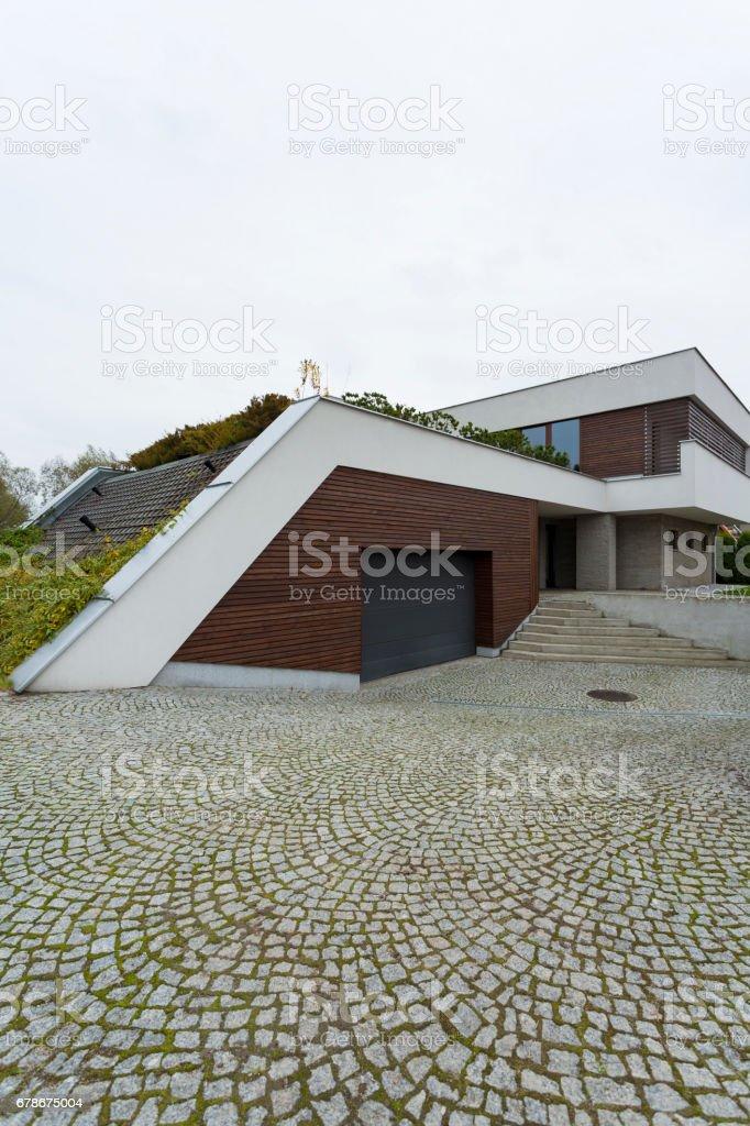 Front of a modern villa stock photo