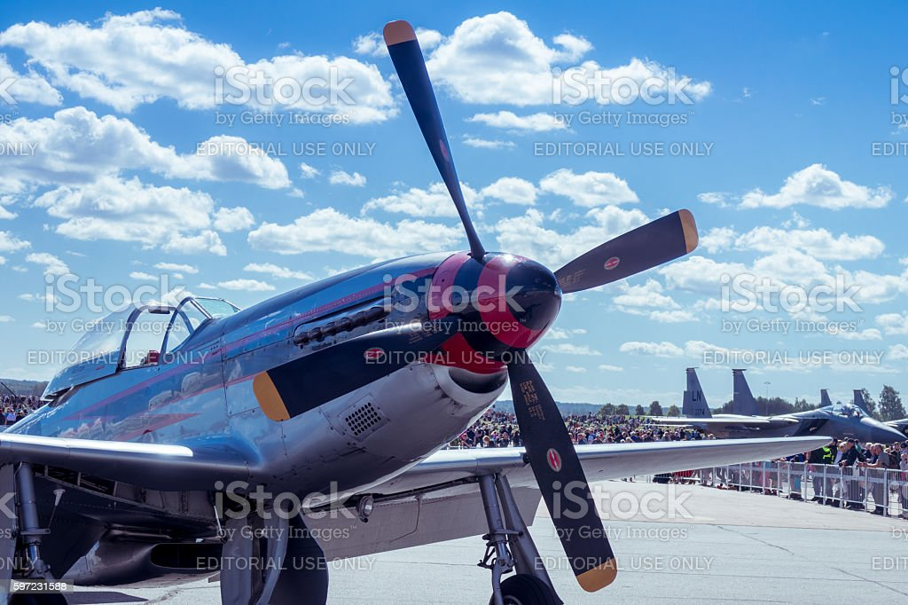 Front of a Mustang P-51 stock photo