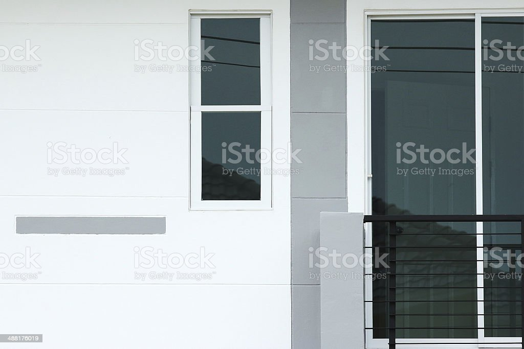 front of a new modern townhouse royalty-free stock photo