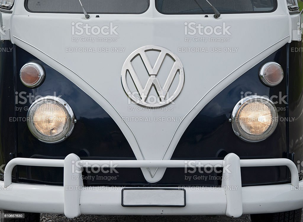Front of a Volkswagen Transporter Type 2 (T1; 1950–1967) stock photo