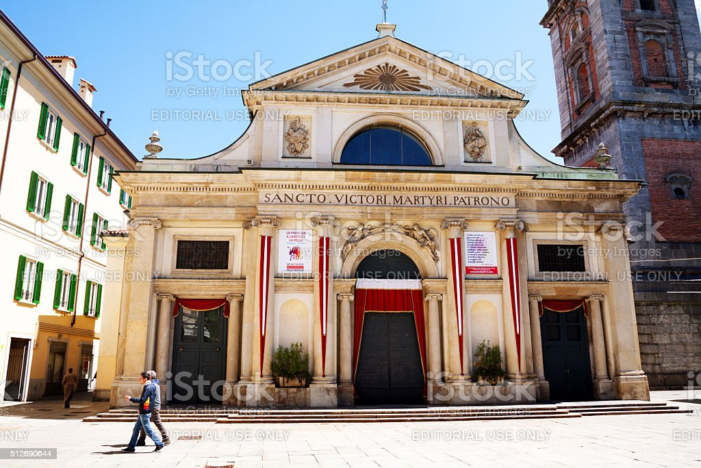 Front of Basilica of San Vittore stock photo