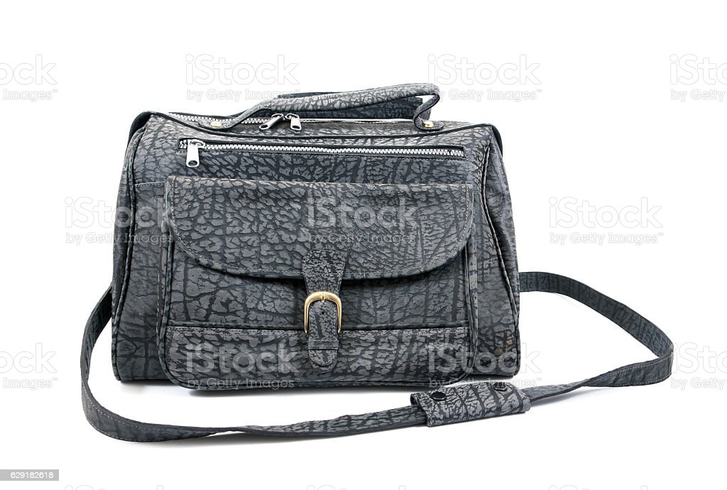 Front of black leather bag isolated on white background. stock photo