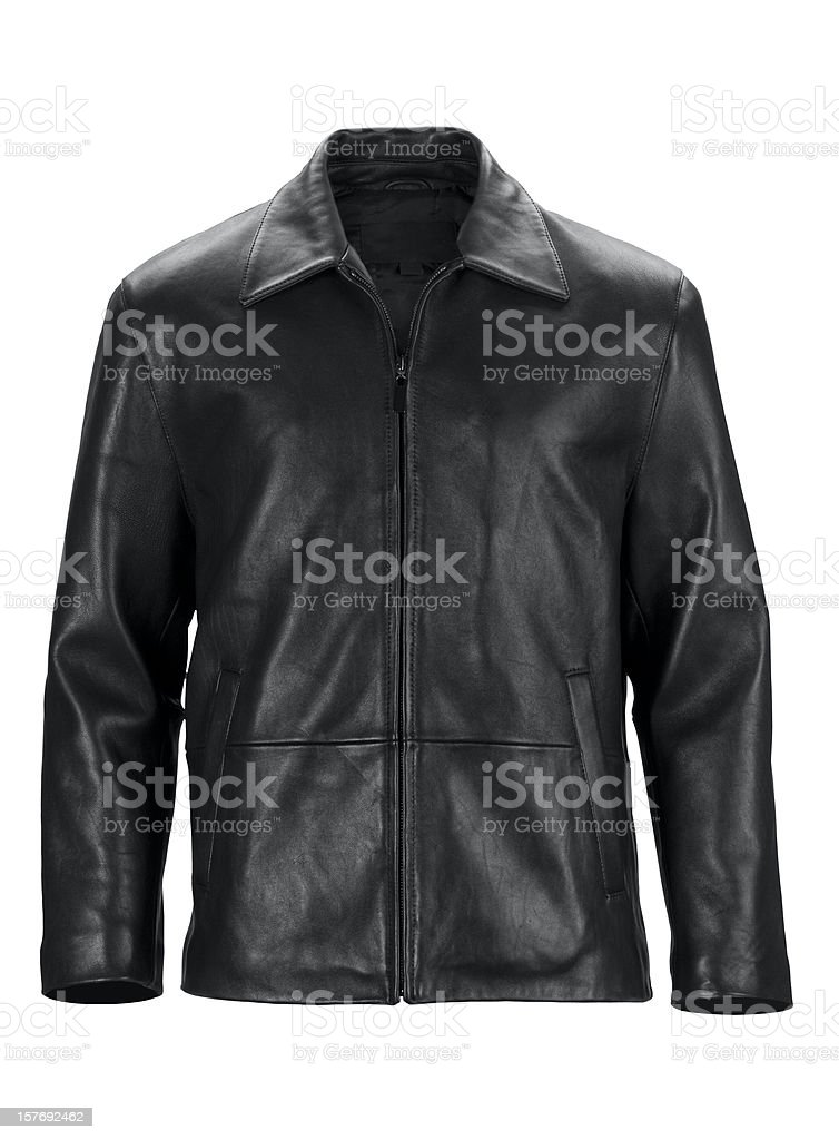 Front of black leather jacket-isolated on white w/clipping path stock photo