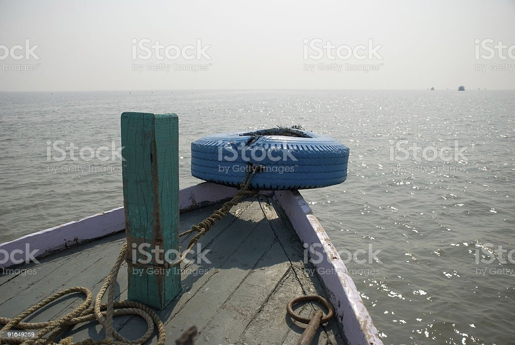 Front of boat with tyre royalty-free stock photo