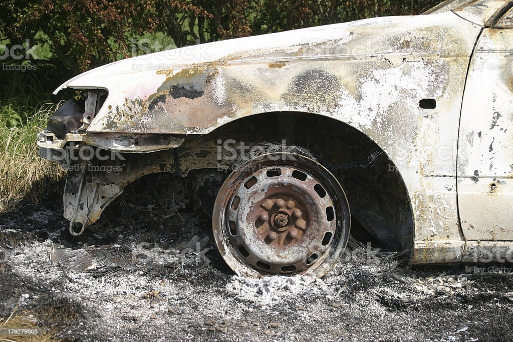 Front of Burnt out Car royalty-free stock photo