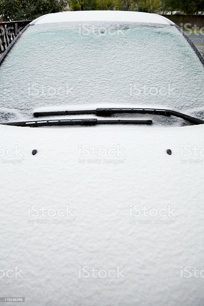 front of car covered in snow royalty-free stock photo