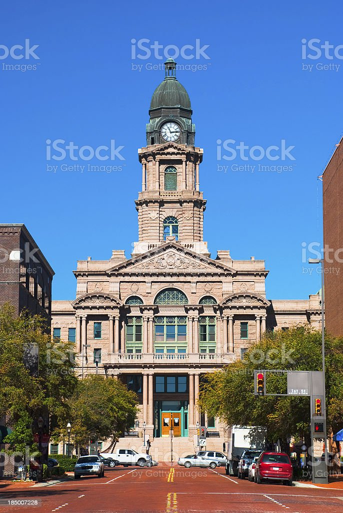 Front of house shot of Tarrant County Courthouse, in the day stock photo