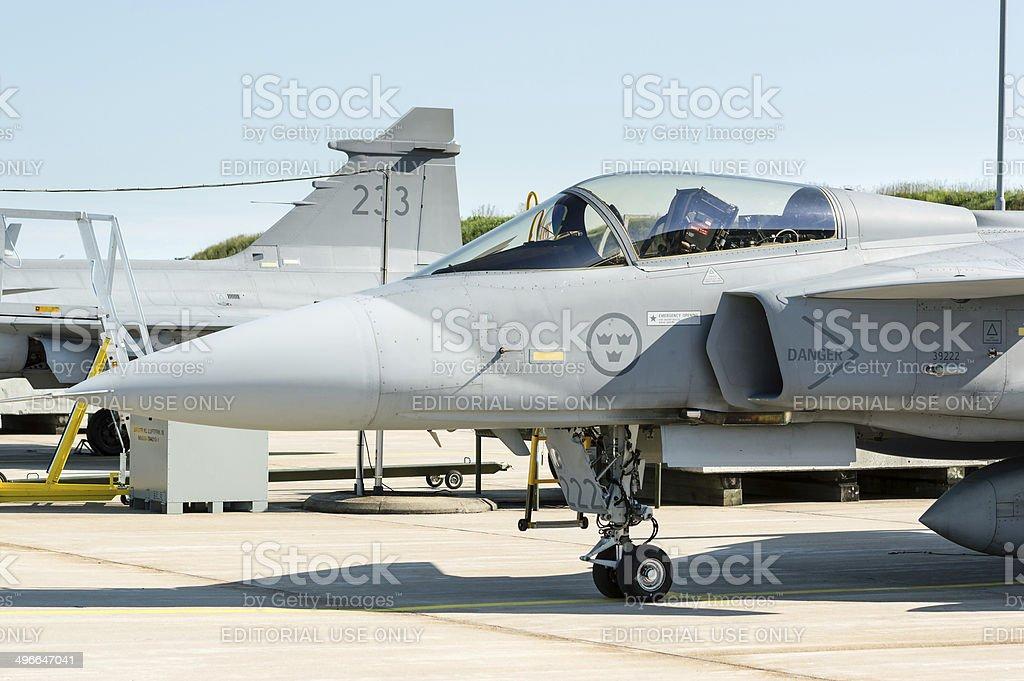 Front of JAS 39 Gripen stock photo