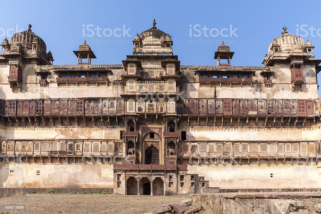 Front of Jehanghir Mahal Palace in India's Orchha. stock photo