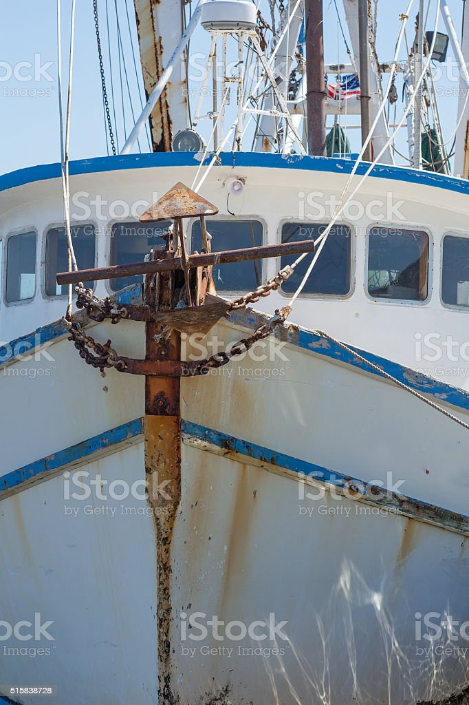 Front of large boat with anchor stock photo