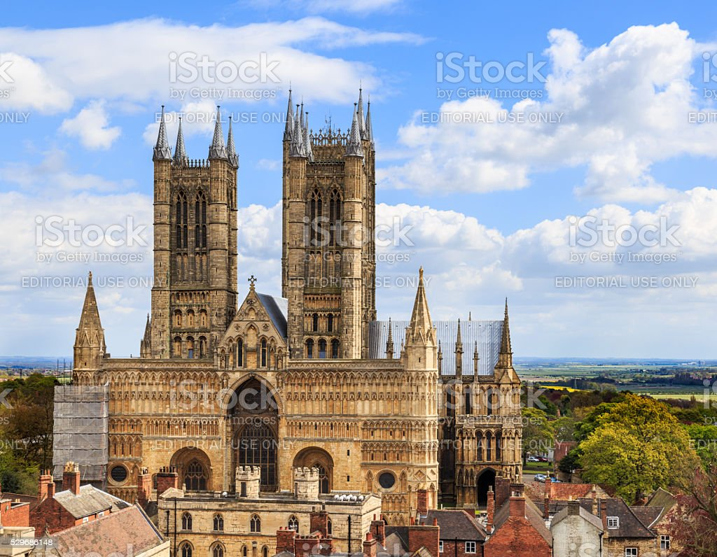 Front of Lincoln Cathedral. Scaffolding present on NW corner. stock photo
