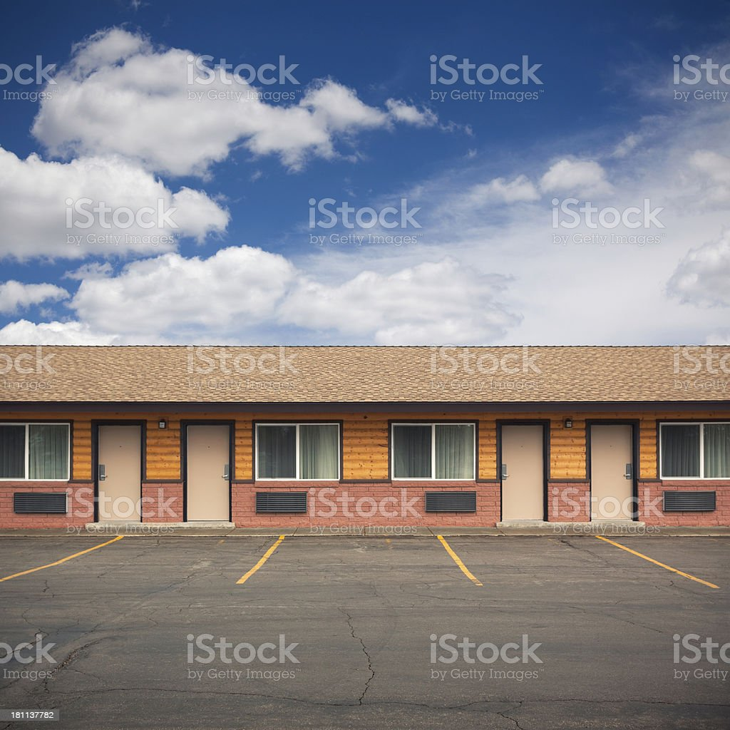 Front of motel building stock photo