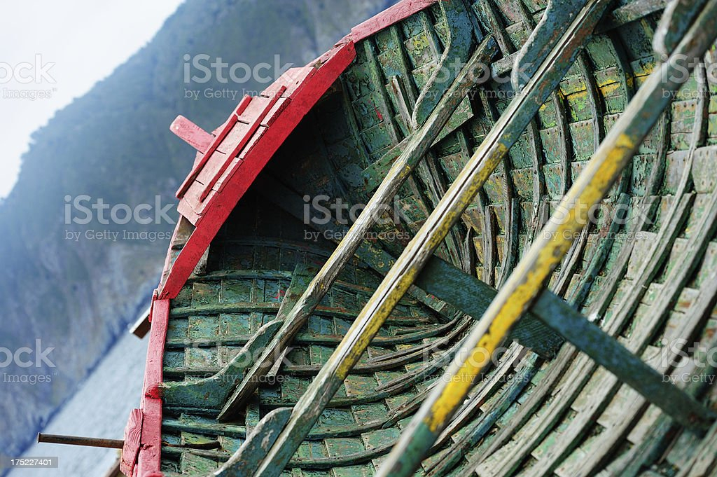 Front of old fishing boat stock photo