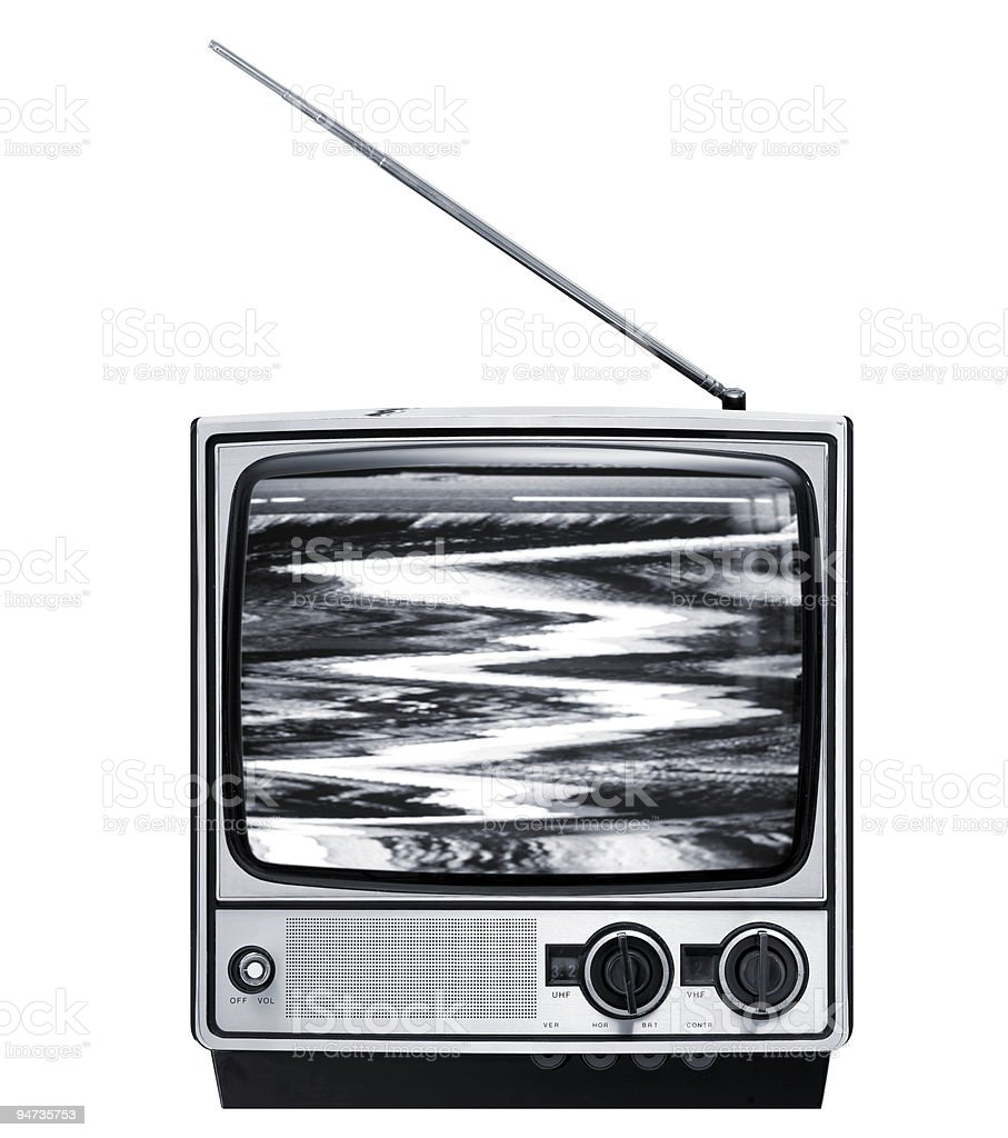 Front of old grey television royalty-free stock photo