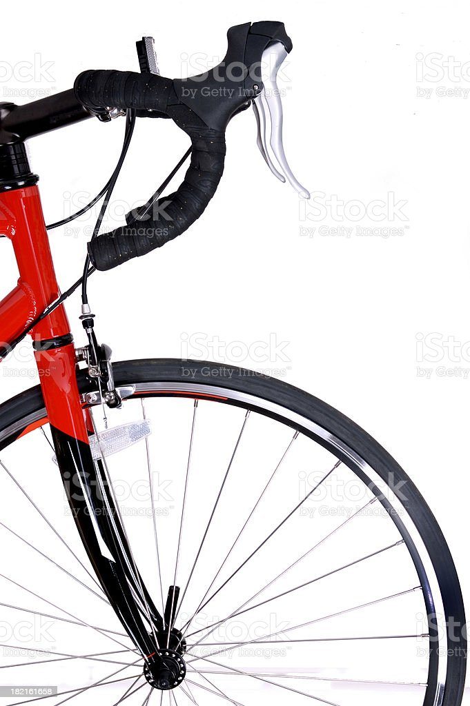 Front of red and black bike and front tire royalty-free stock photo