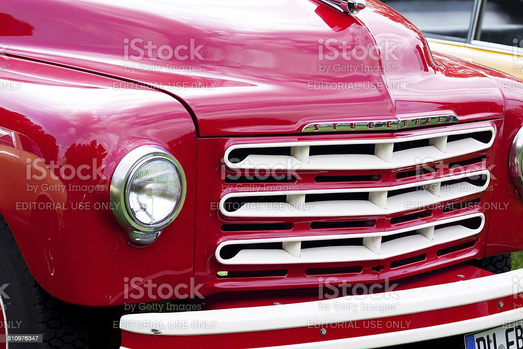 Front of red Studebaker stock photo