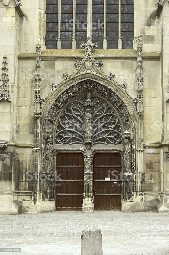front of Saint Remi Basilica in Reims royalty-free stock photo