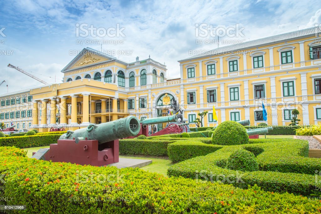Front of Thailand Ministry of Defence building. stock photo