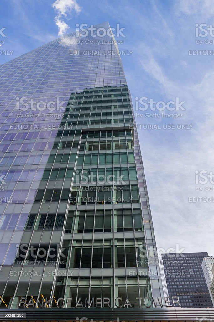 Front of the Bank Of America Tower in New York stock photo