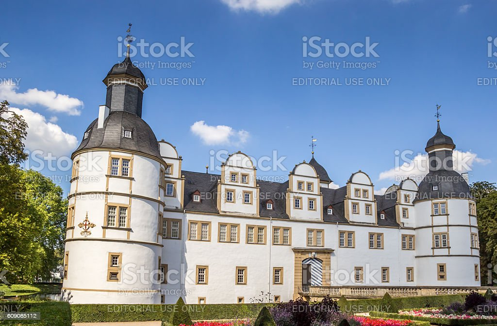 Front of the baroque castle Neuhaus in Paderborn stock photo