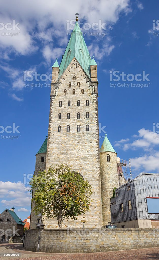 Front of the Dom church in Paderborn stock photo