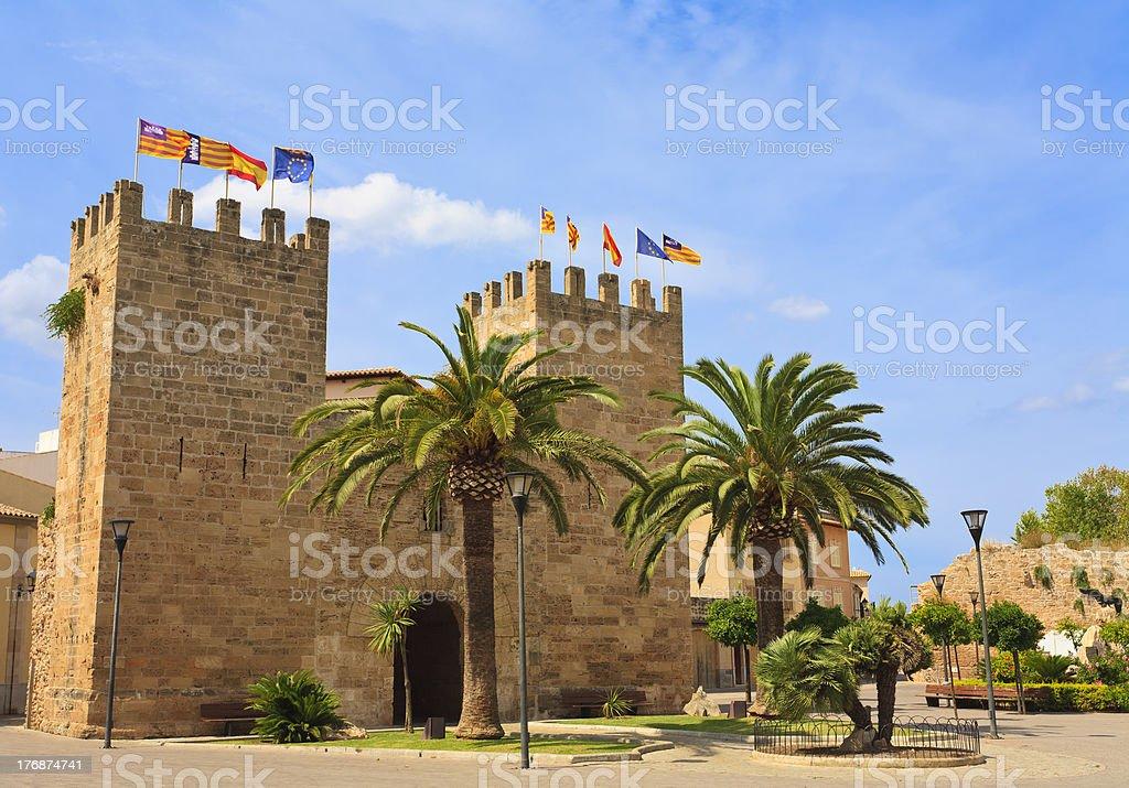 Front of The Xara Gate (Portal del Moll), Alcudia, Mallorca stock photo
