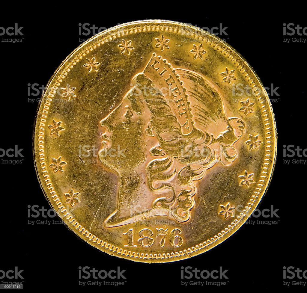 Front of US Liberty Twenty Dollar Gold Coin stock photo