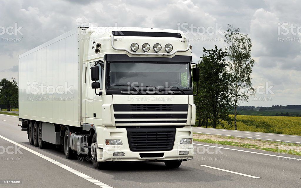front of white truck on the highway royalty-free stock photo