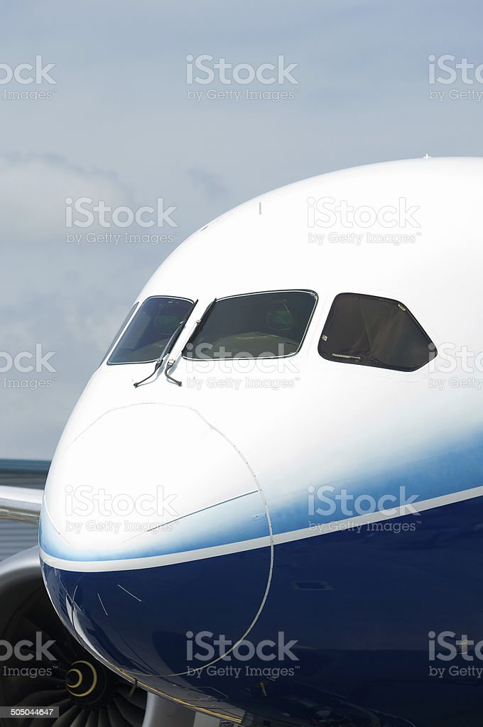 Front of wide-body airliner stock photo