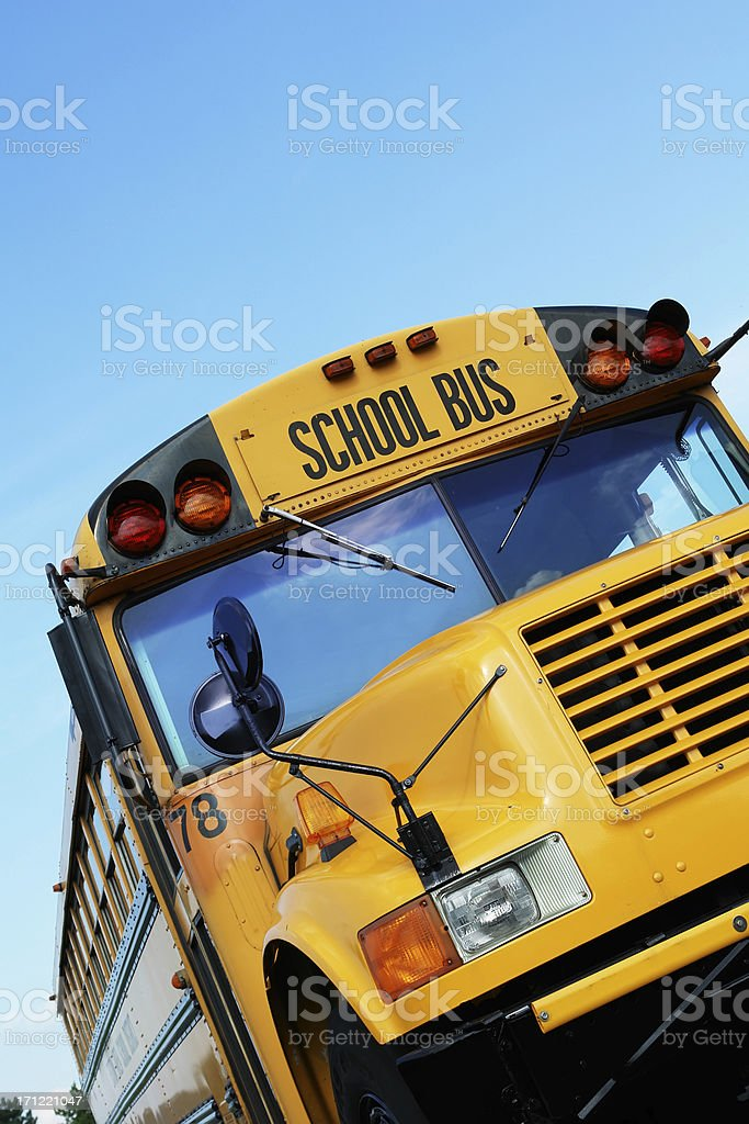 Front of yellow school bus stock photo