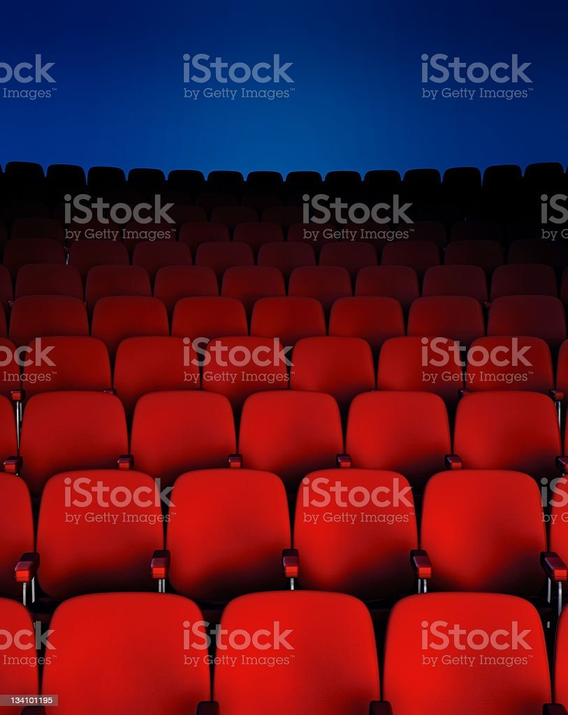 Front on view of rows of theater chairs royalty-free stock photo