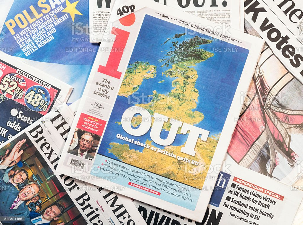 Front page headlines in the UK following Brexit referendum  resu stock photo