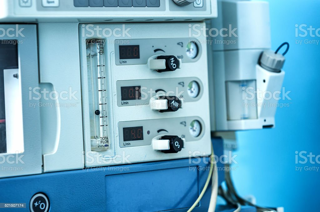 Front panel detail of a anesthesia ventilator machine. stock photo