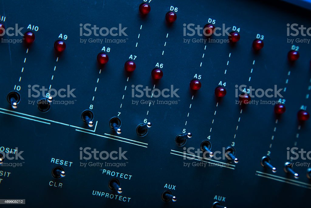 Front Panel of Antique Personal Computer stock photo