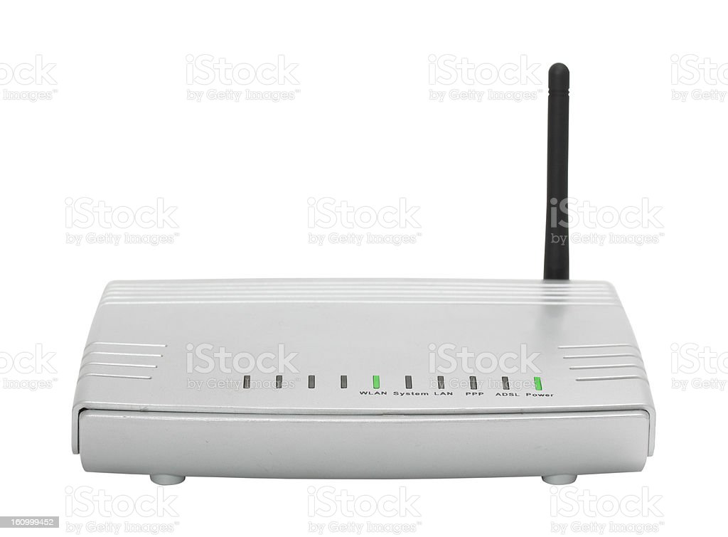 Front panel of wireless router isolate on white. royalty-free stock photo