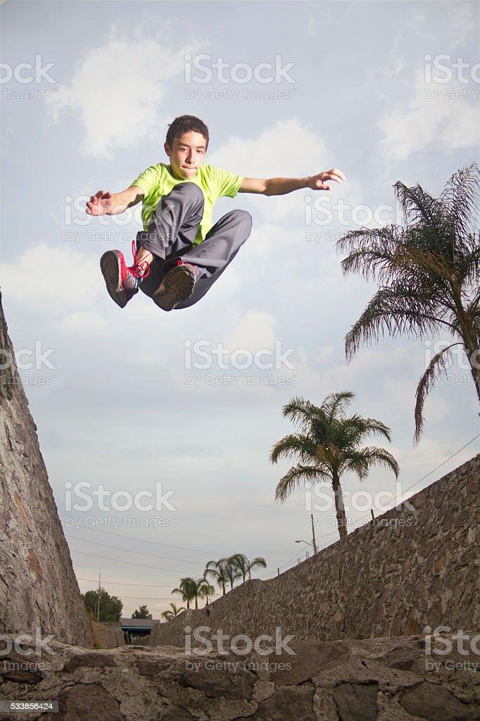 Front parkour jump stock photo