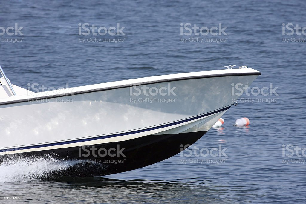 Front part of a race boat royalty-free stock photo