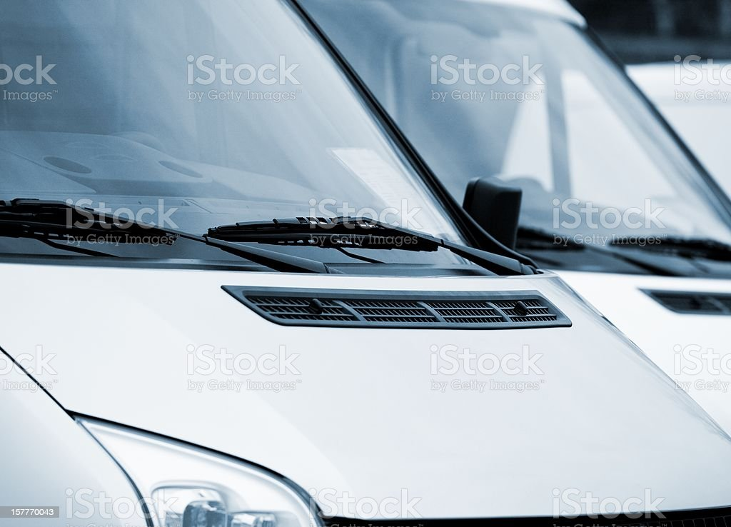 Front part of vans stock photo
