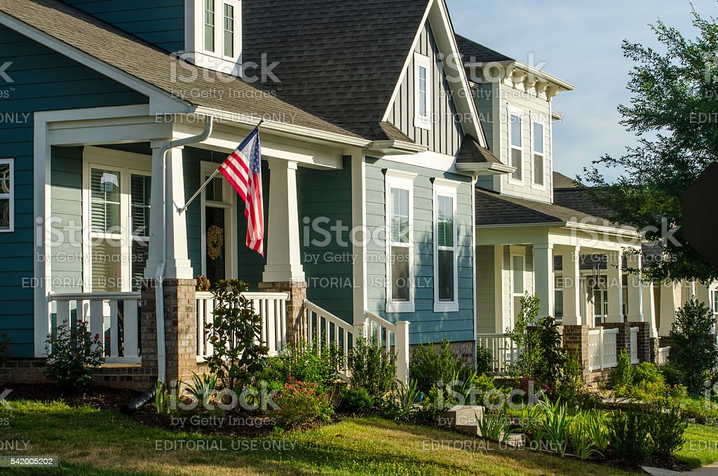 Front Porch with an American Flag stock photo