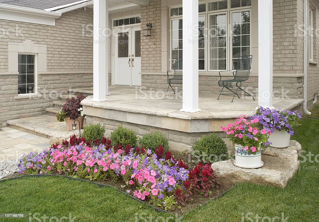 Front Porch with flowers royalty-free stock photo