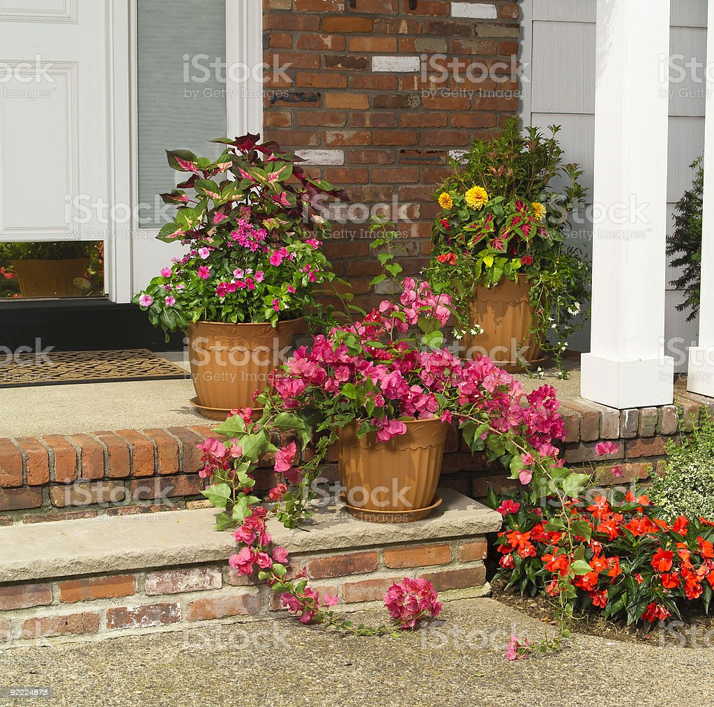 Front porch with planters royalty-free stock photo