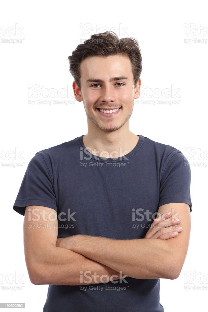 Front portrait of a young boy with folded arms stock photo