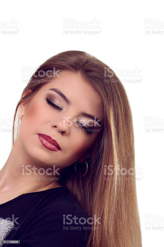 Front portrait of beautiful face with beautiful closed eyes royalty-free stock photo