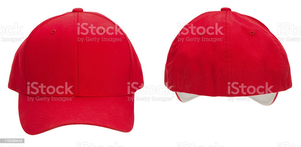 Front & rear view of blank red baseball cap-isolated on white royalty-free stock photo