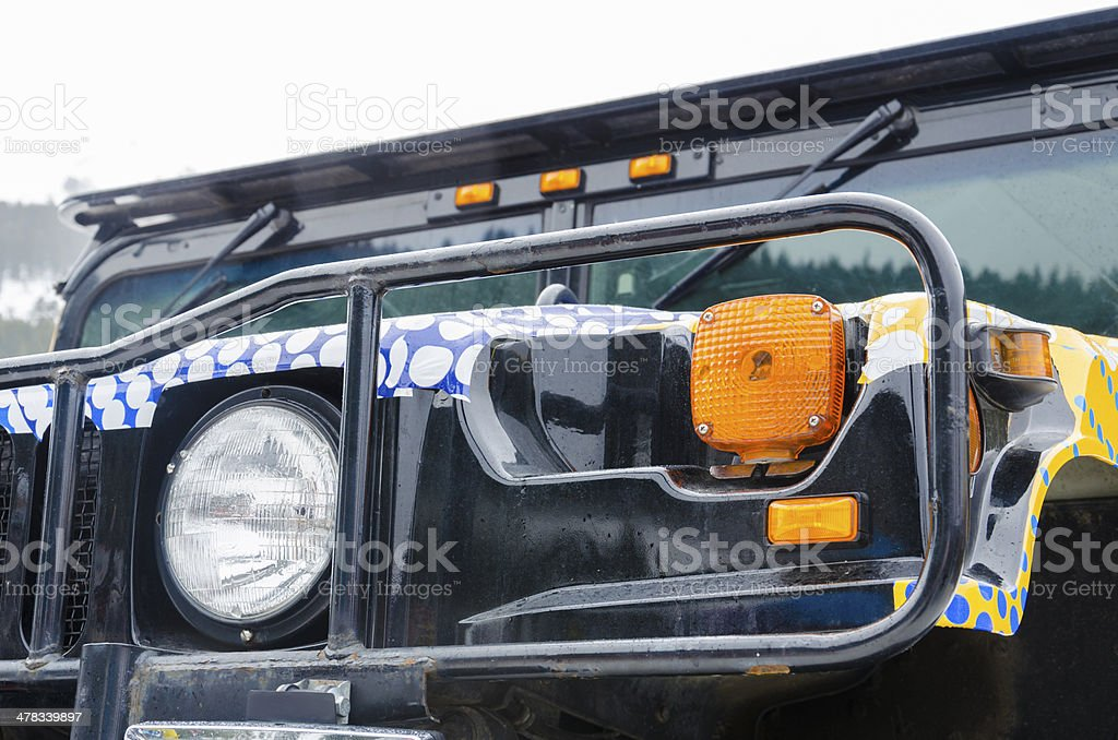 front rollbar view of offroad vehicle stock photo