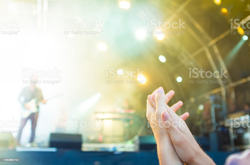 Front row in a concert,  motion blur stock photo