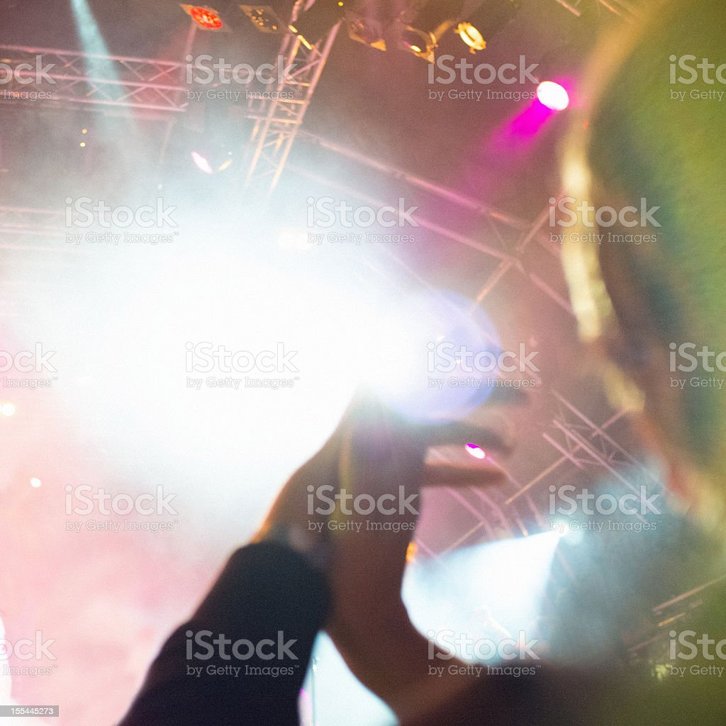 Front row in a concert stock photo