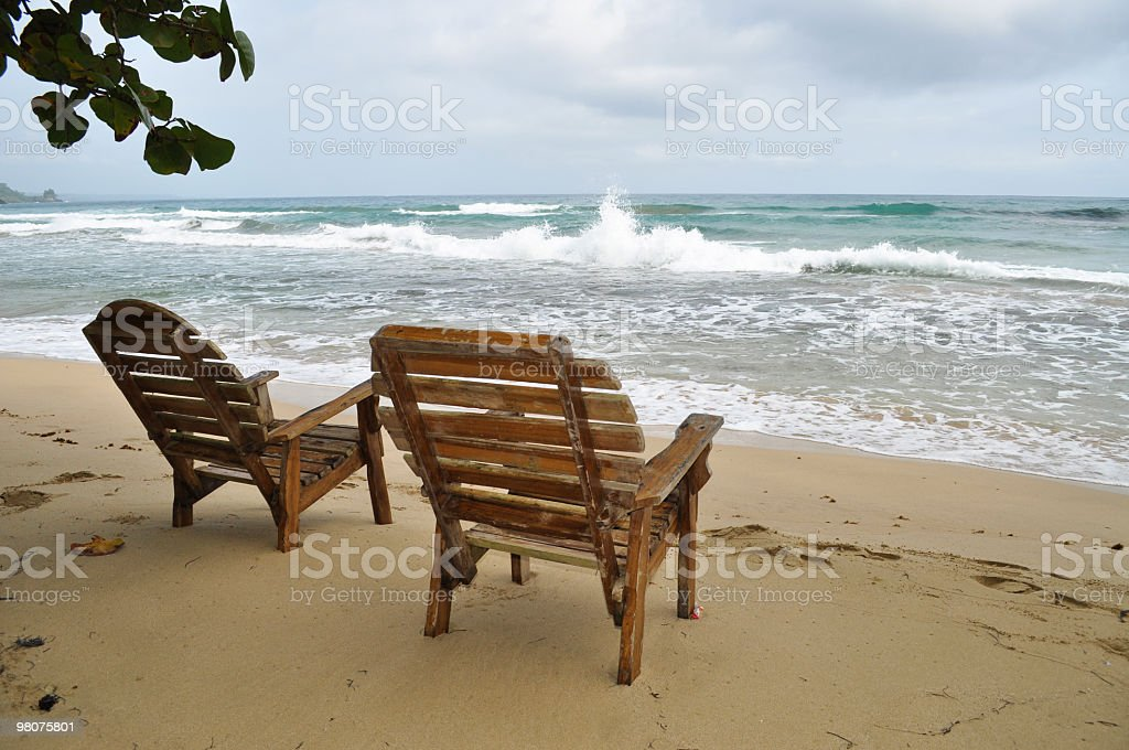 Front Row Seats on a tropical beach royalty-free stock photo