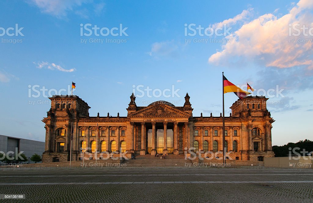 Front scenic view on Reichstag in the evening stock photo