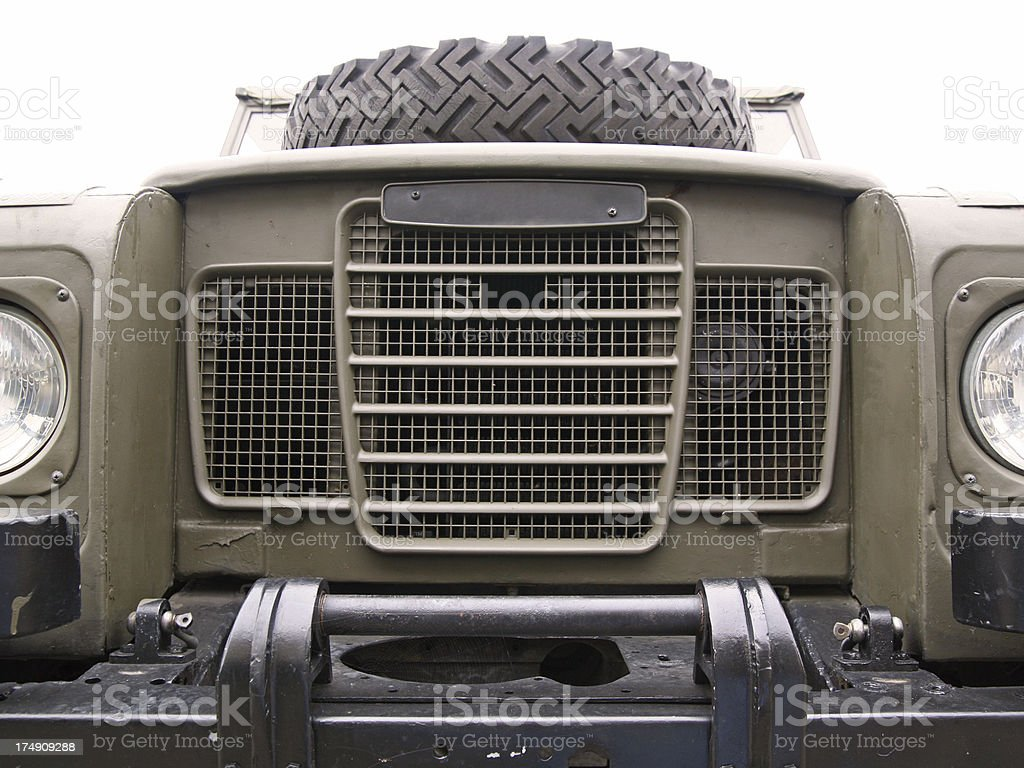 Front side fragment of an all terrain vehicle (ATV) stock photo
